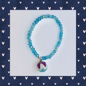 Light Turquoise Faceted Bracelet with Ball Charm